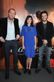 Audrey Tautou wore a royal blue silk cocktail dress with a statement necklace to the 'La Delicatesse' Paris premiere.
