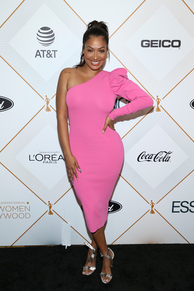 La La Anthony Evening Sandals [cocktail dress,clothing,dress,shoulder,pink,joint,fashion,fashion model,footwear,carpet,lala anthony,arrivals,essence 11th annual black women in hollywood awards gala,beverly hills,california,beverly wilshire four seasons hotel]