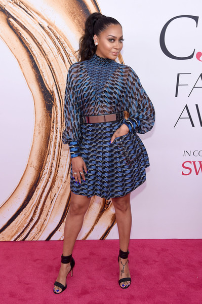 La La Anthony Strappy Sandals [clothing,red carpet,dress,carpet,fashion,premiere,fashion model,cocktail dress,footwear,hairstyle,arrivals,la la anthony,hammerstein ballroom,new york city,cfda fashion awards]