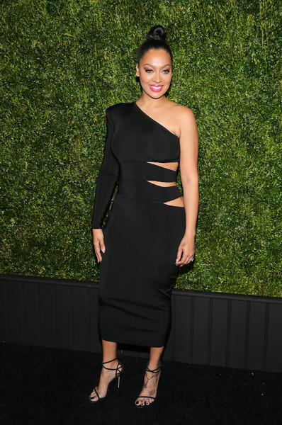 La La Anthony Strappy Sandals [dress,clothing,shoulder,cocktail dress,little black dress,fashion,fashion model,joint,neck,formal wear,new york city,chanel tribeca film festival artists dinner,la la anthony,balthazar]