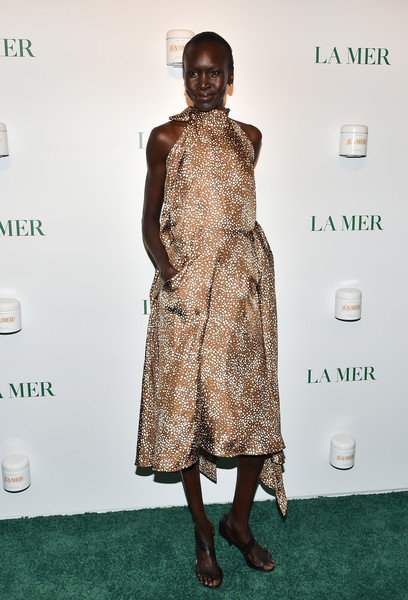 More Pics of Alek Wek Strappy Sandals (1 of 2) - Alek Wek Lookbook - StyleBistro [sorrenti campaign,clothing,dress,fashion,carpet,red carpet,fashion model,fashion design,hairstyle,premiere,footwear,studio 525,new york city,la mer,alek wek]