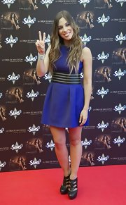 Leira Martinez donned a blue mini dress with a waist bandeau at an album launch.