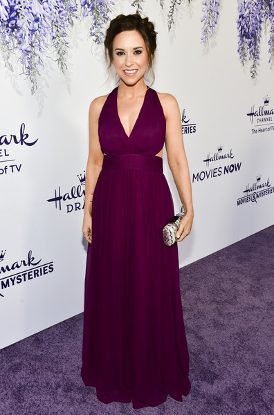 Lacey Chabert Cutout Dress [red carpet,dress,clothing,purple,fashion model,gown,carpet,bridal party dress,a-line,fashion,formal wear,lacey chabert,summer tca,residence,beverly hills,california,hallmark channel]