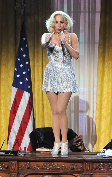 Lady Gaga Ankle Boots [clothing,performance,leg,fashion,thigh,beauty,blond,footwear,performing arts,human leg,lady gaga,american music awards,california,los angeles,nokia theatre l.a. live,show]