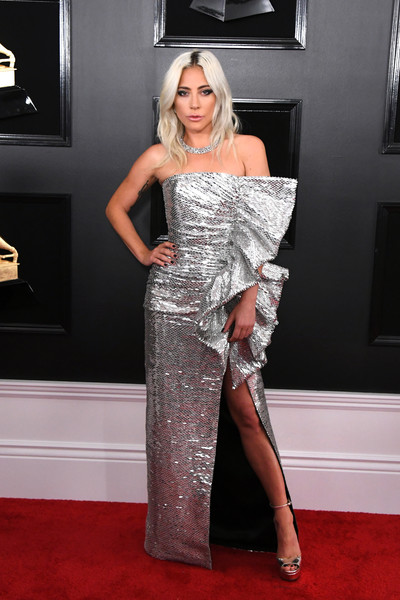 Lady Gaga Strapless Dress [red carpet,carpet,clothing,dress,flooring,shoulder,fashion,lady,hairstyle,long hair,arrivals,carpet,lady gaga,supermodel,grammy awards,red carpet,celebrity,fashion,clothing,annual grammy awards,kylie jenner,grammy awards,red carpet,celebrity,61st annual grammy awards,model,fashion,haute couture,supermodel]