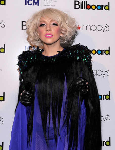 Lady Gaga Leather Gloves [hair,clothing,hairstyle,long hair,wig,blond,fashion,hair coloring,lip,black hair,lady gaga,4th annual women in music,new york city,the pierre hotel,billboard,event]