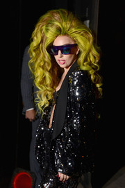 Lady Gaga looked uber cool in rectangular purple sunglasses by Cast Eyewear as she arrived at the Roseland Ballroom for a concert.
