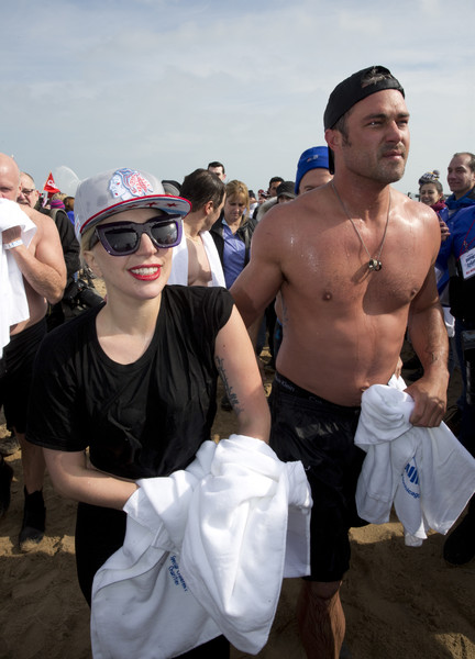 Lady Gaga Square Sunglasses [barechested,muscle,crowd,chest,event,costume,lady gaga,taylor kinney,part,chicago,illinois,north avenue beach,chicago polar plunge]