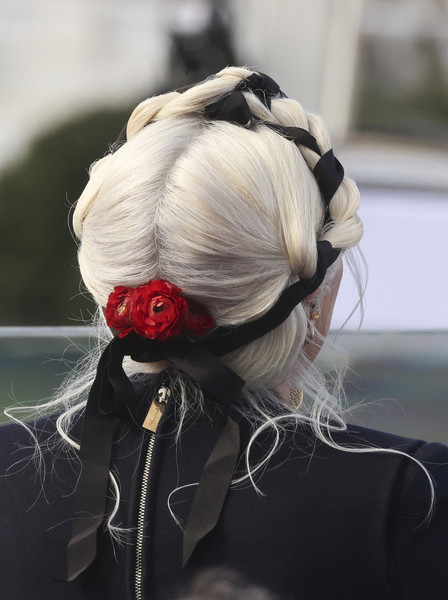Lady Gaga Braided Updo [national anthem,hairstyle,petal,hair accessory,rose,headpiece,chignon,bun,rose family,joe biden,president of the united states,lady gaga,hairstyle,hair,color,u.s. capitol inauguration ceremony,inauguration,inauguration ceremony,hair coloring,hair,hairstyle,flower,color,fashion accessory,hair salon hairstyle m]