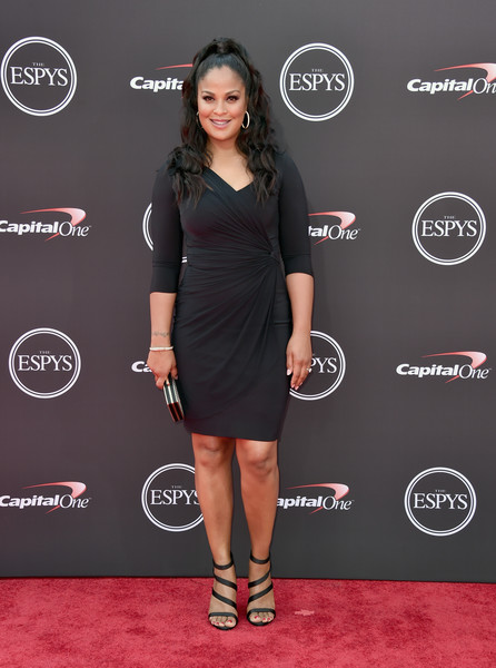 Laila Ali Wrap Dress [clothing,dress,cocktail dress,little black dress,carpet,red carpet,footwear,flooring,premiere,style,arrivals,laila ali,microsoft theater,los angeles,california,espys]