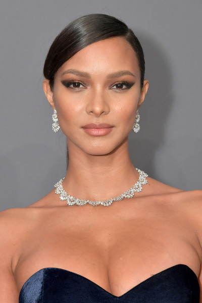 Lais Ribeiro Ponytail [hair,face,hairstyle,eyebrow,lip,beauty,skin,shoulder,chin,jewellery,arrivals,lais ribeiro,new york city,cipriani wall street,amfar new york]
