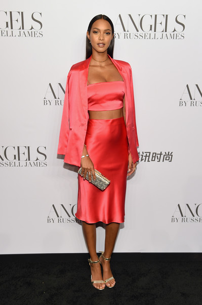 Lais Ribeiro Skirt Suit [clothing,dress,shoulder,cocktail dress,red,fashion model,fashion,hairstyle,pink,carpet,arrivals,cindy crawford,candice swanepoel host angels,russell james,lais ribeiro,angels,stephan weiss studio,russell james book launch and exhibit,exhibit,book launch]