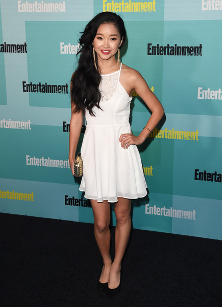 Lana Condor Cocktail Dress [entertainment weekly hosts,clothing,dress,cocktail dress,shoulder,fashion,hairstyle,fashion model,leg,carpet,premiere,bud light lime,lana condor,float,hard rock hotel,entertainment weekly,hbo,honda,comic-con party,comic-con 2015 party]