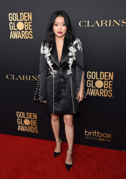 Lana Condor Tuxedo Dress [clothing,carpet,red carpet,premiere,fashion,fashion model,footwear,outerwear,flooring,leg,lana condor,west hollywood,california,hollywood foreign press association and the hollywood reporter celebration,the golden globe ambassadors,golden globe awards season,the hollywood reporter celebration]