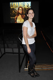 Lana Del Rey's embellished ankle boots upgraded her plain white tee and jean style.