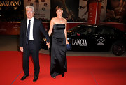 Carey Lowell wore a black strapless dress on the red carpet at the Rome Film Festival.