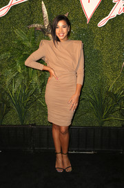 Hannah Bronfman cut a strong silhouette in a broad-shouldered nude Lanvin dress at the Evening of Fashion event.