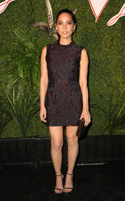 Olivia Munn showed plenty of leg in an embroidered brown Lanvin mini at the Evening of Fashion event.