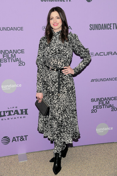 Anne Hathaway donned a black-and-white print dress by Michael Kors for the premiere of 'The Last Thing He Wanted.'