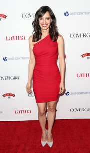 Charlene Amoia looked saucy in a curve-hugging red one-shoulder dress during the Hollywood Hot List party.