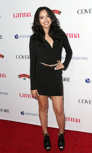 Jasmine Villegas chose an edgy-chic little black dress for the Hollywood Hot List party.