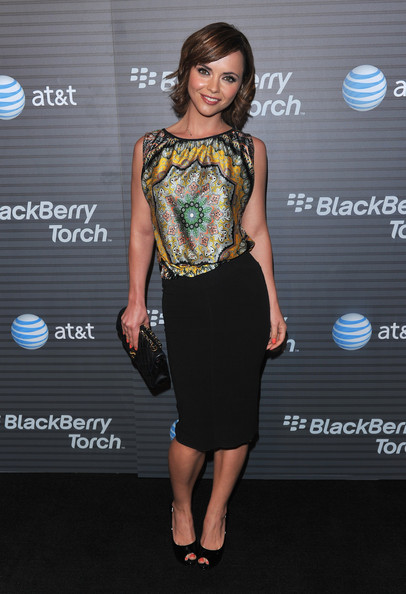 More Pics of Christina Ricci Print Blouse (3 of 6) - Tops Lookbook - StyleBistro [arrivals,christina ricci,los angeles,california,launch party,blackberry torch,launch party]
