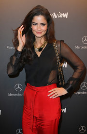 Shermine Shahrivar wore a beautiful statement necklace to the 'Interview' launch party.