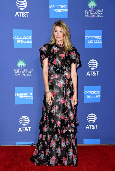Laura Dern Print Dress [red carpet,clothing,carpet,dress,premiere,fashion,flooring,hairstyle,footwear,event,arrivals,laura dern,palm springs convention center,california,palm springs international film festival film awards gala,charlize theron,2020 palm springs international film festival,palm springs,2016 palm springs international film festival,festival,film festival,actor,film awards seasons,academy awards]