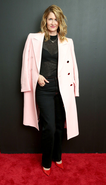 Laura Dern Slacks [clothing,overcoat,coat,outerwear,suit,fashion,formal wear,pantsuit,trench coat,duster,laura dern,inside arrivals,new york city,calvin klein collection,new york stock exchange,fashion show,new york fashion week]