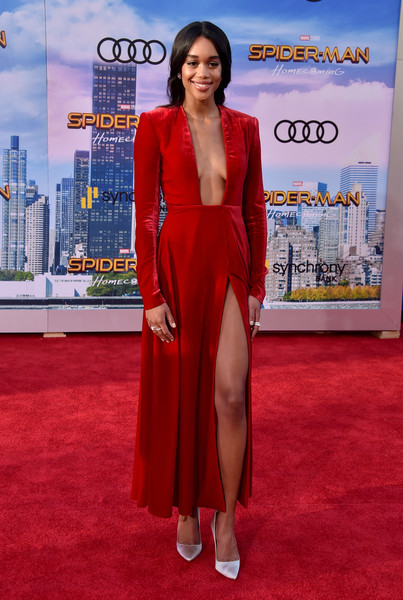 Laura Harrier Evening Pumps [spider-man: homecoming - arrivals,spider-man: homecoming,flooring,carpet,red carpet,leg,fashion model,thigh,premiere,laura harrier,california,hollywood,tcl chinese theatre,columbia pictures,premiere,premiere]