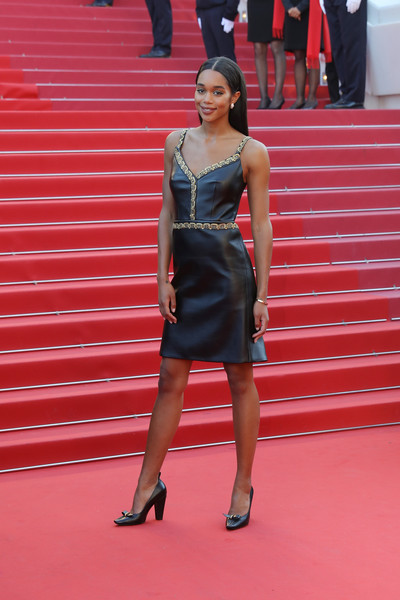 Laura Harrier Pumps [the man who killed don quixote,red,fashion model,footwear,flooring,beauty,carpet,lady,fashion,dress,girl,red carpet arrivals,laura harrier,screening,cannes,france,closing ceremony,cannes film festival,palais des festivals]
