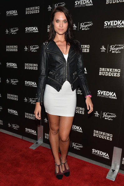 Laura James Leather Jacket [drinking buddies,clothing,leather,carpet,dress,leg,cocktail dress,fashion,shoulder,joint,footwear,red carpet,laura james,california,hollywood,arclight cinemas,magnolia pictures,screening,screening]