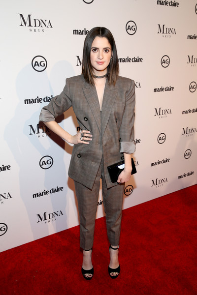 Laura Marano Platform Sandals [red carpet,clothing,suit,red carpet,pantsuit,formal wear,hairstyle,fashion,carpet,outerwear,premiere,laura marano,marie claires image makers awards,west hollywood,california]