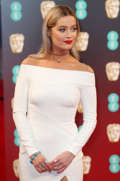 Laura Whitmore Gemstone Bracelet [hair,shoulder,face,clothing,blond,dress,hairstyle,beauty,joint,head,red carpet arrivals,laura whitmore,british academy film awards,ee,england,london,royal albert hall,bafta]