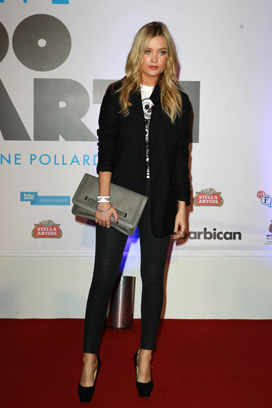 Laura Whitmore Leather Clutch [clothing,red carpet,carpet,fashion,footwear,flooring,premiere,blazer,event,outerwear,arrivals,laura whitmore,days on earth,screening,earth,england,london,barbican centre]