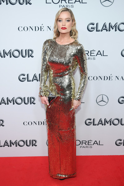 Laura Whitmore Metallic Clutch [clothing,dress,red carpet,carpet,hairstyle,shoulder,fashion model,premiere,fashion,long hair,laura whitmore,cocktail,new york city,alice tully hall,glamour women of the year awards]
