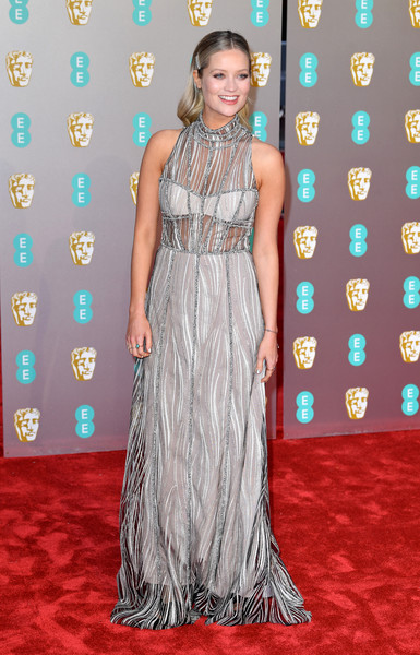 Laura Whitmore Embroidered Dress [red carpet,carpet,clothing,dress,flooring,gown,premiere,fashion,hairstyle,fashion model,red carpet arrivals,laura whitmore,ee,london,england,royal albert hall,british academy film awards]