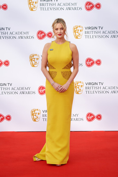 Laura Whitmore Evening Dress [red carpet,carpet,clothing,yellow,dress,flooring,premiere,gown,event,red carpet arrivals,laura whitmore,england,london,the royal festival hall,virgin tv,bafta television awards]