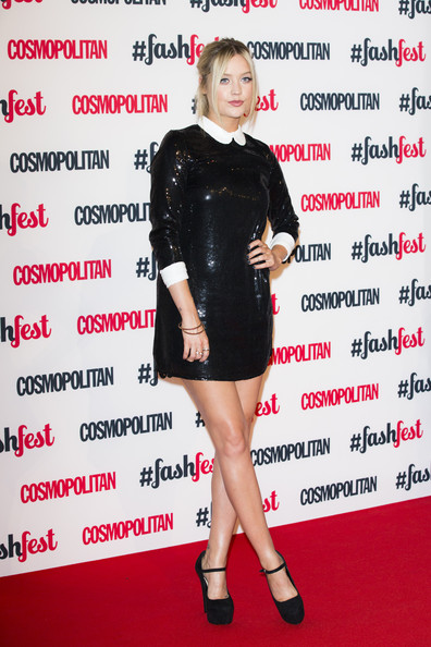 Laura Whitmore Mini Dress [clothing,dress,cocktail dress,little black dress,carpet,footwear,premiere,fashion model,cosmopolitan fashfest - arrivals,laura whitmore,cosmopolitan fashfest,london,england,event,battersea evolution]