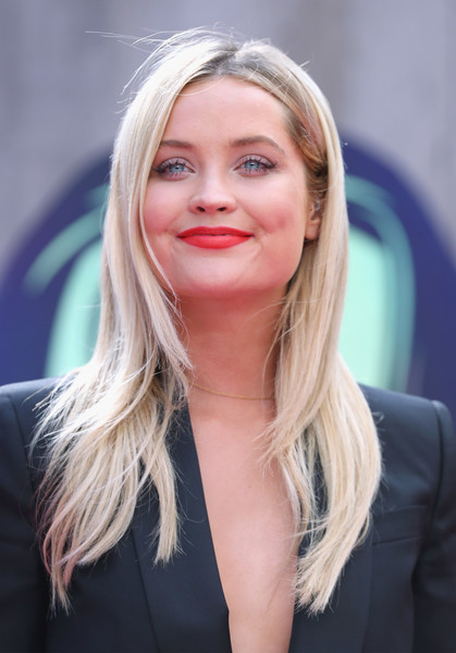Laura Whitmore Red Lipstick [hair,blond,face,hairstyle,lip,eyebrow,long hair,layered hair,chin,beauty,red carpet arrivals,laura whitmore,european,england,london,odeon leicester square,suicide squad,premiere,european premiere]