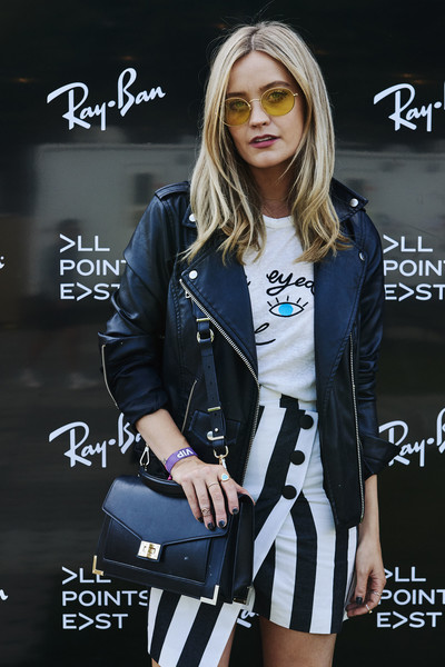 Laura Whitmore Leather Shoulder Bag [eyewear,clothing,street fashion,fashion,cool,outerwear,photography,fashion design,style,jacket,laura whitmore,handout image,studios,ray-ban studios,victoria park,london,england,ray-ban,all points east festival]
