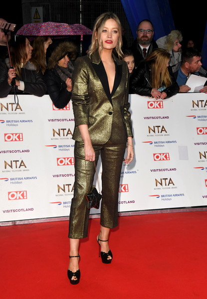 Laura Whitmore Pantsuit [clothing,red carpet,carpet,fashion,premiere,event,public event,leather,footwear,fashion model,laura whitmore,national television awards,london,england,o2 arena,red carpet arrivals]