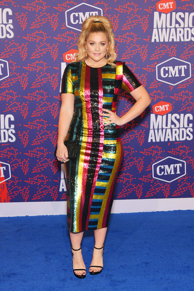 Lauren Alaina Platform Sandals [clothing,carpet,dress,red carpet,fashion design,flooring,premiere,arrivals,lauren alaina,cmt music awards,bridgestone arena,nashville,tennessee]