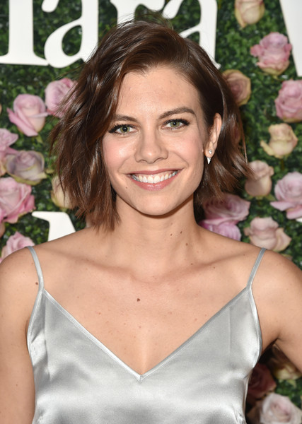 Lauren Cohan Short Wavy Cut [max mara celebrates zoey deutch,the 2017 women in film max mara face of the future,lauren cohan,hair,hairstyle,beauty,blond,brown hair,smile,premiere,long hair,dress,cocktail dress,chateau marmont,california,los angeles,max mara]