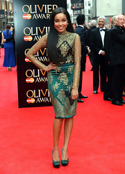Dionne Bromfield chose a long-sleeved dress with gold detailing for a cool Indian-inspired look.