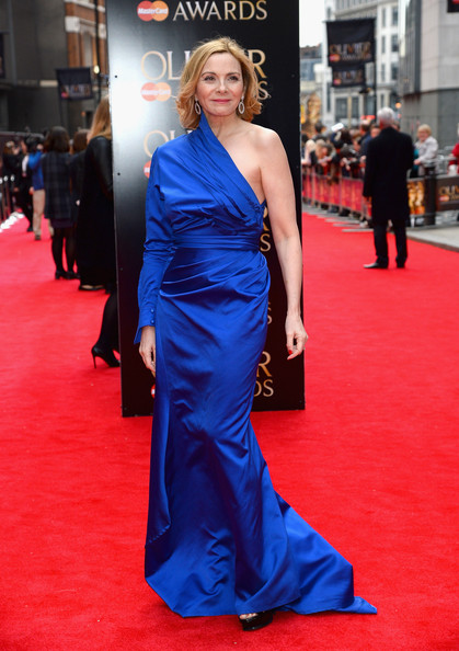 In A Royal Blue Dress At The 2013 Olivier Awards
