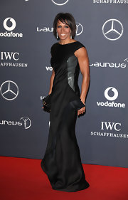 Dame Kelly Holmes wore a uniquely draped black evening dress for the Laureus World Sports Awards.
