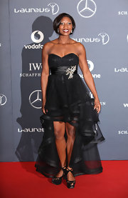 Denise Lewis wore a black tulle fishtail dress for the Laureus World Sports Awards.