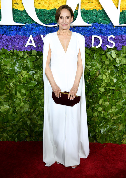 Laurie Metcalf Velvet Clutch [red carpet,red carpet,carpet,clothing,dress,flooring,fashion,premiere,event,haute couture,formal wear,laurie metcalf,tony awards,new york city,radio city music hall,annual tony awards]