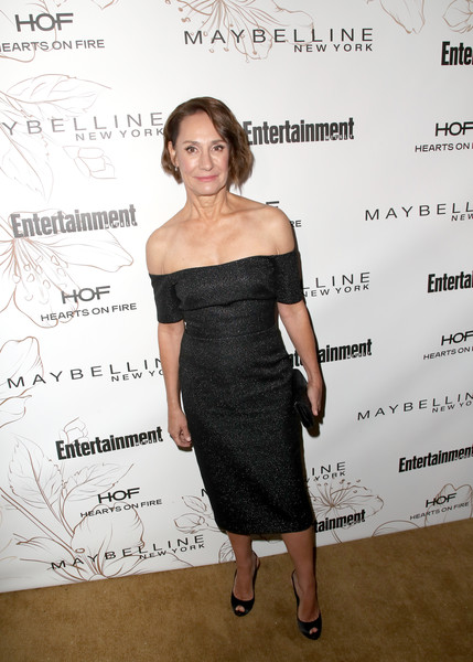 Laurie Metcalf Slingbacks [shoulder,dress,clothing,cocktail dress,joint,little black dress,strapless dress,fashion,premiere,event,nominees,laurie metcalf,screen actors guild awards,california,los angeles,chateau marmont,new york,entertainment weekly hosts celebration,maybelline,nominees celebration]
